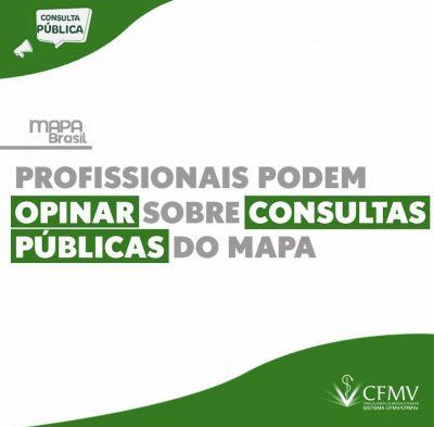 Profissionais podem opinar sobre consultas públicas do MAPA